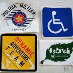 Silk em adesivos diversos Policia Militar, RPPN Amadeu Botelho.